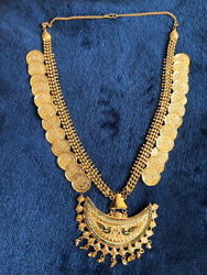 Antique Gold Plated Coin Necklace Long Haar Jewelry Dance Costume
