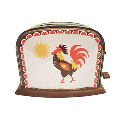 Vtg Tin Toy Toaster Rooster Sun Working Raise And Lower Toast Montessori Kitchen