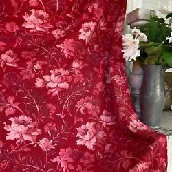 French Antique Red Floral Ticking Pieced Cotton Fabric 1700s Curtain Foliage