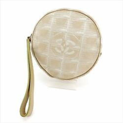 Porch Cosmetic Pouch Old Chaneltravel Line Beige Silver Nylon Jacqu _7782