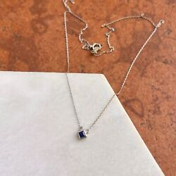 Platinum Birthstone Square Bezel Set Cable Chain Necklace New Select Your Stone