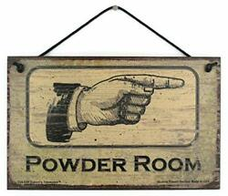 Powder Room - Right Vintage Style Sign Pointing To The Bathroom Girls Ladies