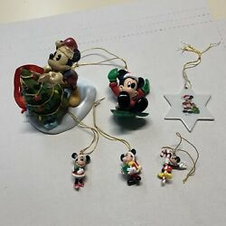 Disney Ornament Lot Of 6 Mickey Mouse And Minnie Christmas Tree Sled Candy Cane