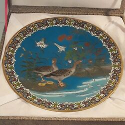 Rare Republic Chinese Cloisonne Gold Wire Charger Antique Enamel Plate In Box