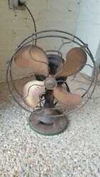 Vintage Emerson 12 Inch Brass Blade Electric Fan In Great Working Condition
