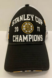 Boston Bruins 2011 Stanley Cup Champions Black Hat Reebok One Size