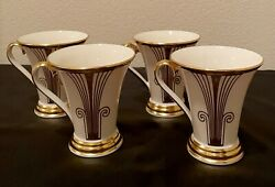 Lenox China Eternal Deco Gold Accent Mugs Set Of Four New