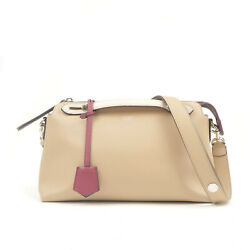 Authentic Fendi Bay The Way Leather 2way Bag Shoulder Bag Beige 8bl124 Used F/s