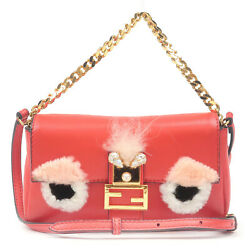 Auth FENDI Bag Bugs Monster Micro Bucket Leather 2Way Bag Red 8M0354 Used F S $473.96