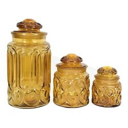 Rare 3 Antique Amber Pattern Glass Jar Cannister Fit Lid Apothecary Lid Broke