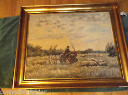 Farm Tractor,midwest Landscapeoil On Panel,agriculture,iowanebraskaeurope
