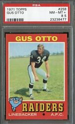 1971 Topps 258 Gus Otto Psa 8.5 Nm+ Pop 1 Only 2 9's Oakland Raiders Football