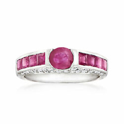 Vintage Ruby Ring With Diamonds In 18kt White Gold Size 7