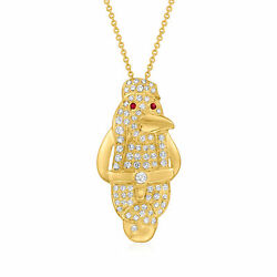 Vintage Diamond Penguin Necklace With Ruby Accents In 18kt Gold 16