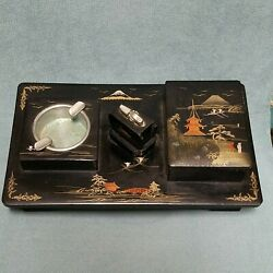 Vtg Aizu Beautiful Lacquer Japanese Box Cigarette Case Deluxe Set Hand Painted