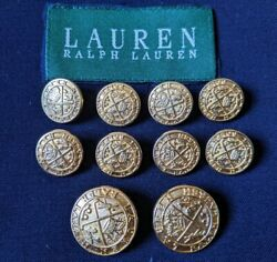 Polo Crest Lot 10 Brass Gold Metal Blazer Jacket Replacement Button