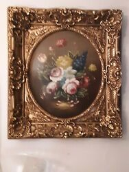 Vintage Italian Gilded Lacquered Oil Painting On Oval Wood/sale