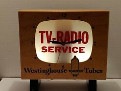 Vintage Westinghouse Tv Radio Advertising Lighted Clock - Very Rare And It Works