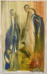 Evgenii Brukman Oil On Paper Surreal Expressionist Judaica Lithuanian Painting