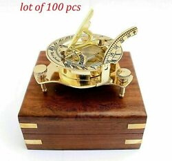 West London - Marine Working 3inch Brass Compass Sundial Compass With Box