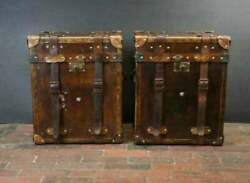 Handmade English Antique Leather Campaign Style Trunks Chests Side Table