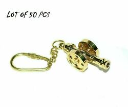 Nautical Key Chain Lot Of 50 Piece Vintage Brass Ship Cannon Key Chain Key Ring
