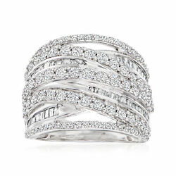 2.00 Ct. T.w. Round And Baguette Diamond Highway Ring In Sterling Silver