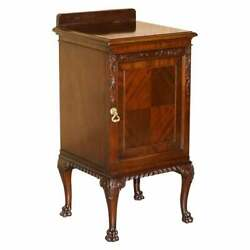 Antique Honduras Mahogany Side End Table Lion Hair Paw Carved Feet Part Of Suite