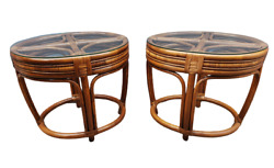 Vintage Boho Chic Bamboo Bentwood Rattan Glass Tiki Oval End Side Tables A Pair