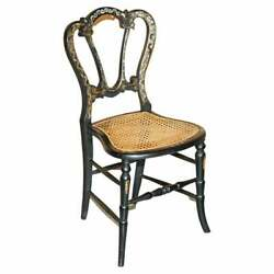 Circa 1815 Heavily Mother Of Pearl Inlaid Ebonsied And Gold Leaf Regency Chair