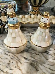 Retired Mackenzie-childs Parchment Check Ceramic Salt And Pepper Shakers.