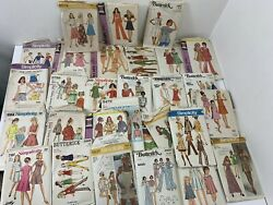 Vintage Simplicity Butterick Sewing Patterns Lot Of 31 Girls Women 60's And 70's