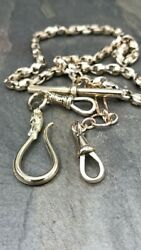 Antique Yellow Gold Watch Chain W/ Large Fob Hook Hallmarked