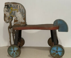 Vintage 1930s-1940s Riding Rolling Toy Hobby Horse 17.5x14.25x7