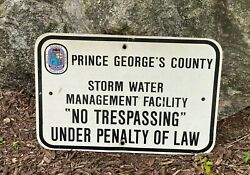 Vintage George's County Md Storm Water No Trespassing Warning Sign 1970's