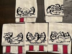 Vintage Textile Linen Hand Embroidery Pig Days Of The Week Dish Tea Towels Lot 5