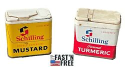 Schilling Turmeric And Mustard Spice Tins Lot Of 2 W/spice Still In Them Vintage