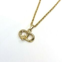 Christian Dior Necklace Cd Logo Bee Gold Accessory With Adjuster Women 's _15508