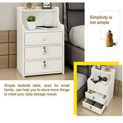 Simple End Table Bedroom Nightstand Coffee Table 3 Drawer With Lock Cabinet
