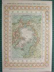 1900 Large Victorian Map North Polar Regions Universal Time Chart Greenland