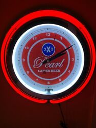 @@ Pearl Texas Beer Bar Man Cave Red Neon Advertising Clock Sign