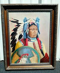 Vintage Oil Painting - American Indian Native American Woman With Bluebirds