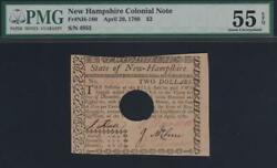 Nh-180  2 Pop Pmg Au55 Epq 2 Apr 29.1780 New Hampshire Colonial Currency