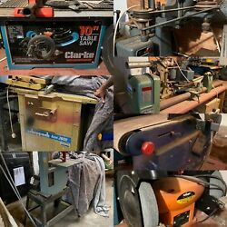 Vintage Wood Working Machines Freestanding Table Top Lathe Brand Saw Drill