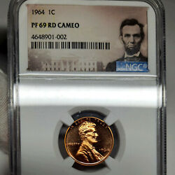 1964 Pf69 Cameo Red Lincoln Memorial Cent 1c Proof, Ngc Graded Pr69 Cam Rd