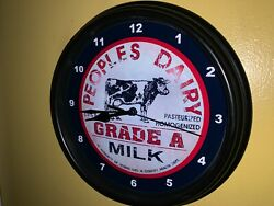 @@ Peoples Dairy Milk Cow Store Kitchen Diner Advertising Clock Sign