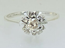 1978 Vintage Diamond And 18ct White Gold Cluster Flower Snowflake Ring 3.1g Size M