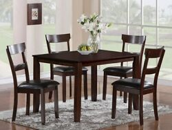5pc Dining Set Durable Contemporary Style Espresso Finish Table Chair Furniture