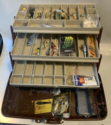 Vintage Plano Fishing Tackle Box Locking With Lures Fred Arbogast Jitterbug