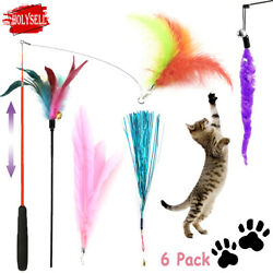 Pet Cat Toys Feather Wand Rod Pet Kitty Bell Play Funny Teaser Interactive Toy